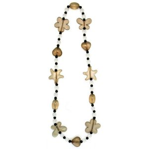 Long Necklace Dark Gloss Heart & Flower 70cm Made With Resin by JOE COOL