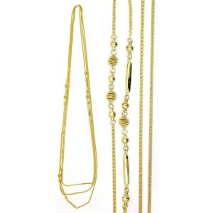 Necklace Chain Multi Strand & Ball Gold 112cm Made With Zinc Alloy by JOE COOL