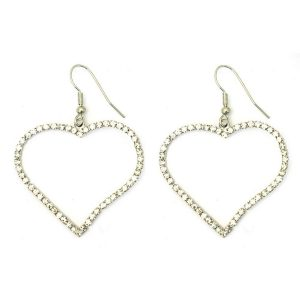 Drop Earring Big Heart Made With Crystal Glass by JOE COOL