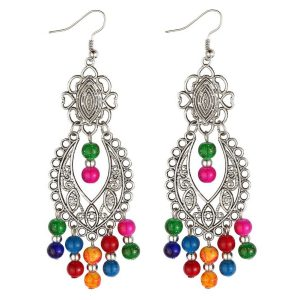 Drop Earring Etched Filigree Made With Tin Alloy by JOE COOL