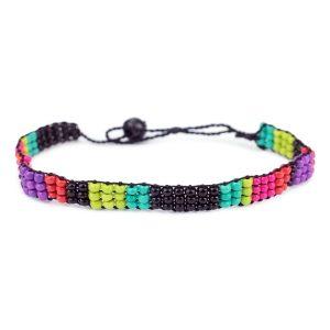 Bracelet Mini Beads 3 Row Design Made With Glass & Cord by JOE COOL