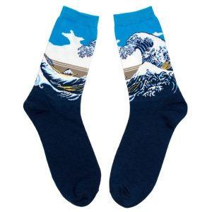 Socks Gents Hokusai The Great Wave Of Kanagawa Made With Cotton & Nylon by JOE COOL