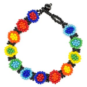 Bracelet Beads Rainbow Flowers Made With Glass by JOE COOL