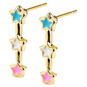 Stud Earring Three Stars Made With Tin Alloy & Enamel by JOE COOL