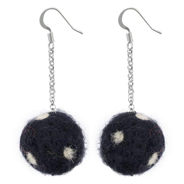 Drop Earring Polka Pompom Single Chain Made With Felt by JOE COOL