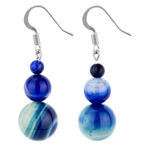 Drop Earring Night Sky Treble Marbles Made With Agate by JOE COOL