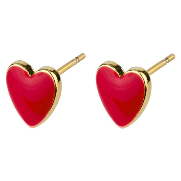 Stud Earring Love Hearts Made With Enamel & Tin Alloy by JOE COOL