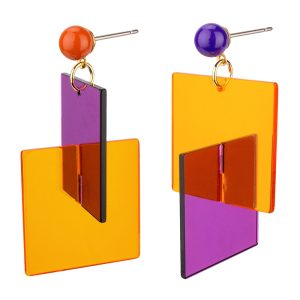 Drop Earring Bold Square Made With Acrylic by JOE COOL